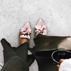 Shoes - Fiona2 Blush Pink Satin Bow Flats Mules